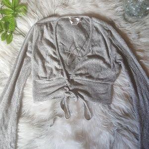 Lauras Boutique Grey Deep V Sweater Crop Top